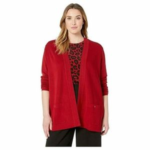 Anne Klein Sweater Cardigan Red Open Pockets Sz S